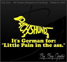 Dachshund Weiner HOT DOG MOM DAD Vinyl Decal Sticker FAMILY PET Love Car Window