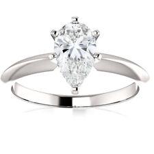 SI1/E 1 Ct Pear Shape Diamond IGI Certified Engagement Ring Lab Grown 14k Gold