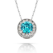 1.90Ct White Sapphire & Topaz Round Halo Charm Pendant 14K W Gold w/ Chain