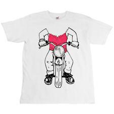 Childrens Kids White Bike Slogan T-Shirt - Girl On Motorcycle Image