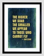 Mayor Menor aparecen volar Nietzsche cita Soar azul impresión arte enmarcado B12X13914