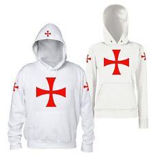 Croce Templare - Felpa Bianca Cavalieri Templari Crociati Uomo Donna Cappuccio