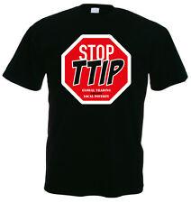 STOP tedeschi Global Trading creates local Poverty T-shirt, Nero