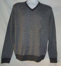Men's Gray Striped Merino Wool Blend V Neck Sweater NWT