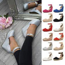 Womens ladies medium wedge heel ankle strap platform espadrilles sandals size
