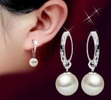 10-12mm AAA White Akoya shells pearl Drop silver Hook  Earrings