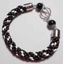 "Pulsera kumihimo, perlas de vidrio, Negro/Marrón - 7.25"" o 8"""