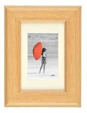 Oak MDF Wood Photo Frames With Ivory Coloured Beveled Mounts Choice of 12 Sizes
