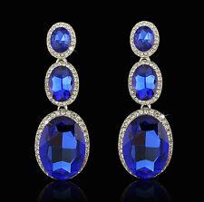 Rhinestone Bridesmaid Prom Jewelry Crystal Silver Drop 3 Tier Statement Earrings