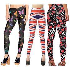 Ladies Flag Love Lips Butterfly Print Skinny Stretchy Sports Yoga Leggings 4-22