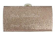 Glitter Clutch Bag Hard Case Evening Sparkle Rose Gold Shimmer Glitz Diamante