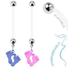 14g Bioflex Pregnancy Belly Bar / Navel Ring With Dangle Enamel Baby Feet