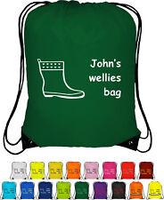 Personalised Drawstring Bag School Gumboots Wellingtons Print WELLIES BAG