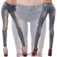Jeans pantalon pour femme élastique chapelet skinny déchirures strass neuf F717