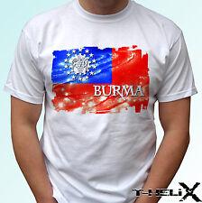 Burma flag - white t shirt top design mens womens kids & baby sizes