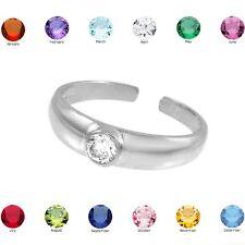 White Gold Birthstone CZ Toe Ring