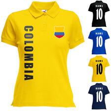 Kolumbien Colombia Damen Trikot Fanshirt Polo-Shirt WM 2018 Name Nummer