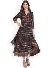 Amayra Women's Brown Printed Long Length Anarkali Cotton Kurti