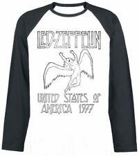 Led Zeppelin Raglan Baseball Long Sleeve T Shirt USA 77 Official Rock Metal 1977