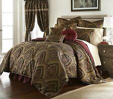 Deluxe New 9 pcs Gold/Maroon  Oversized Paisley Comforter Set Cal King Queen