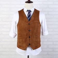 Vintage Mens Suede Business Formal Dress Vest V-neck Blazers Waistcoat Plus Size