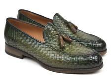 Paul Parkman Woven Leather Tassel Loafers Green  (ID#WVN44-GRN)