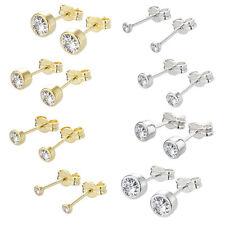 PAAR 925er Sterlingsilber oder 333er gelb Gold Ohrstecker Ohrringe mit Zirkonia