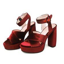 Women Velvet Open Toe Super High Block Heels Sandals Party Nightclub Sexy Shoes