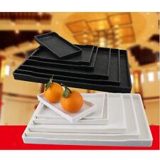Home White/Balck Plastic Rectangular Display Storage Serving Lap Tea Snack Tray