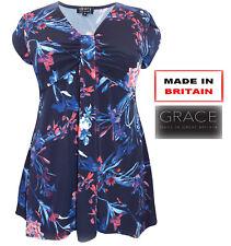 New Ladies Britain Made Grace Tunic Navy Print Short Sleeve Top Blouse Siz 12-28