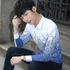 Men's Hot Comfy Teen Korean Floral Lapel Collar Printed Casual Slim T-Shirt L69