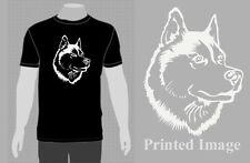 SLED DOG SPIRIT SIBERIAN HUSKY HEAD SILHOUETTE  T SHIRT HUSKIES MUSH PRESENT