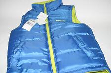 Boy's Kids PUMA Reversible Full Zip Vest Jacket Coat Blue Neon Yellow XS