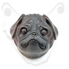 Carved Wood Big Gauge Ear Plug Saddle Organic Black Natural Pug Dog 30mm Bulldog