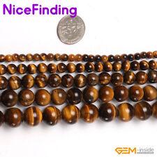 "Natural Yellow Tiger Eye Round Stone Jewellery Making Gemstone Beads Strand 15"""