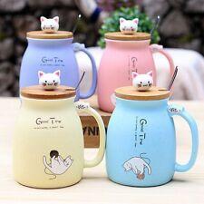 New sesame cat heat-resistant cup color cartoon with lid cup kitten milk coff TD