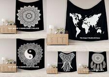 Indian Mandala Tapestry Hippie Wall Hanging Bohemian Bedspread Black White Decor