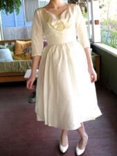 VTG 50s 60s Wedding Dress White Formal Prom Gown Full Swing Skirt XS/XXS