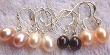 Schöner kultivierter weiß rosa Lavendel schwarz Süßwasserperle Ohrringe