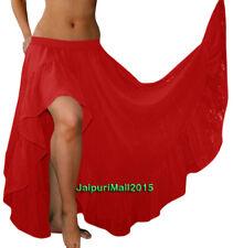 Red Chiffon Slit Skirts Ruffle Flamenco Gypsy Belly Dance Tribal 12 Yard Jupe