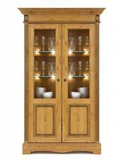Massivholz Eckschrank 2türig Kiefer massiv goldbraun Eck-vitrine Eßzimmerschrank