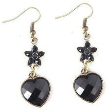 Boucles d'oreilles Cœurs fleur Strass Bijoux FOLKLORIQUES couleur or noir