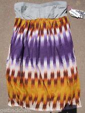 NEW Billabong MINI Dress Multi Color Bikini CovrUp L Strapless Purple Grey