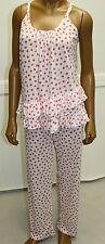 Oscar De La Renta Pajamas 2 PC Pink White Dot Soft Pants Cami Top SOFT RETAIL 84