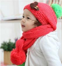 Scarf Hat Set Winter Baby Cap Toddler Kids Boy Girl Warm Beanie Knit Crochet