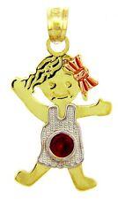 Fine Multi-Tone Gold July Birthstone Ruby Red CZ Baby Girl Charm Pendant