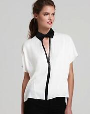 Robert Rodriguez Cascade Silk Shirt Ivory Leather Black Collar Dolman Semi Sheer