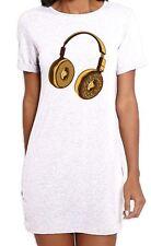 Headphone Donut DJ Women's Short Sleeve T-Shirt Dress - Vinyl Jungle Drum & Bass