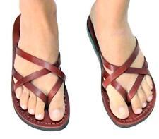 Jerusalem Biblical Jesus Sandals Brown Leather Strap Flip Flops Women