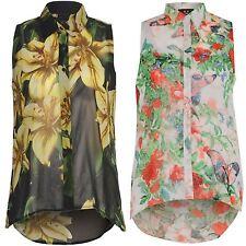 Floral Femmes Bouton T-shirt Lis Sans Manche Imprimé Dessus De La Blouse 16-26